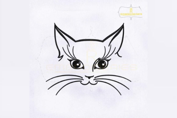 Inquisitive Cat Face Outline Cats Embroidery Design By RoyalEmbroideries
