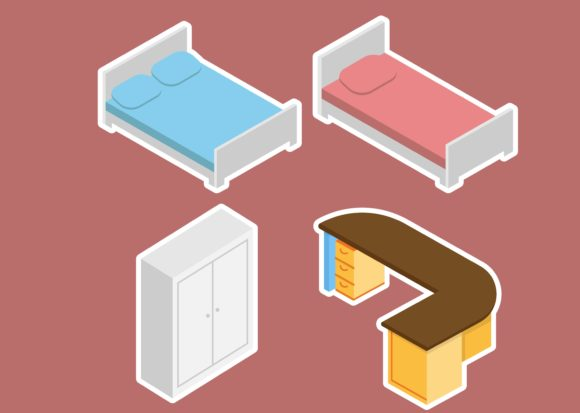 Print on Demand: Isometric Furniture Graphic Illustrations By studioisamu
