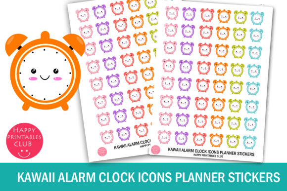 Download Free Kawaii Alarm Clock Icons Planner Sticker Grafico Por Happy for Cricut Explore, Silhouette and other cutting machines.