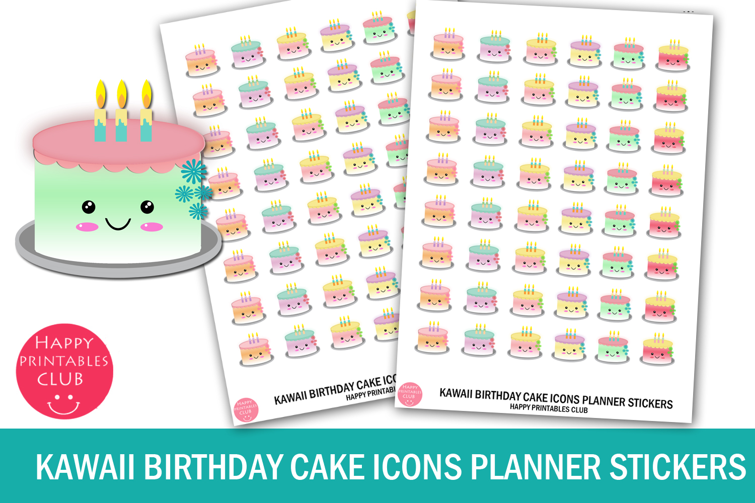 Download Free Kawaii Birthday Cake Icons Planner Graphic By Happy Printables for Cricut Explore, Silhouette and other cutting machines.