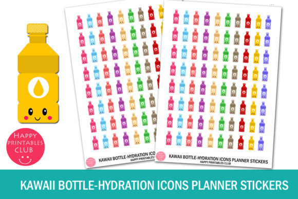 Download Free Kawaii Bottle Hydration Icons Stickers Graphic By Happy for Cricut Explore, Silhouette and other cutting machines.