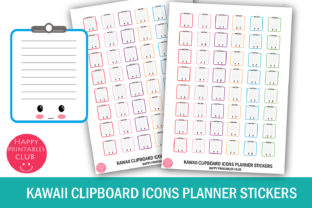 Kawaii Clipboard Icons Planner Stickers Graphic Crafts By Happy Printables Club