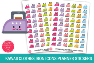 Kawaii Clothes Iron Icons Planner Graphic Crafts By Happy Printables Club