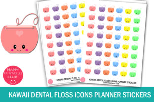 Kawaii Dental Floss Icons Stickers Graphic Crafts By Happy Printables Club
