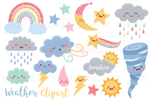Kawaii Weather Clipart Graphic Illustrations By magreenhouse