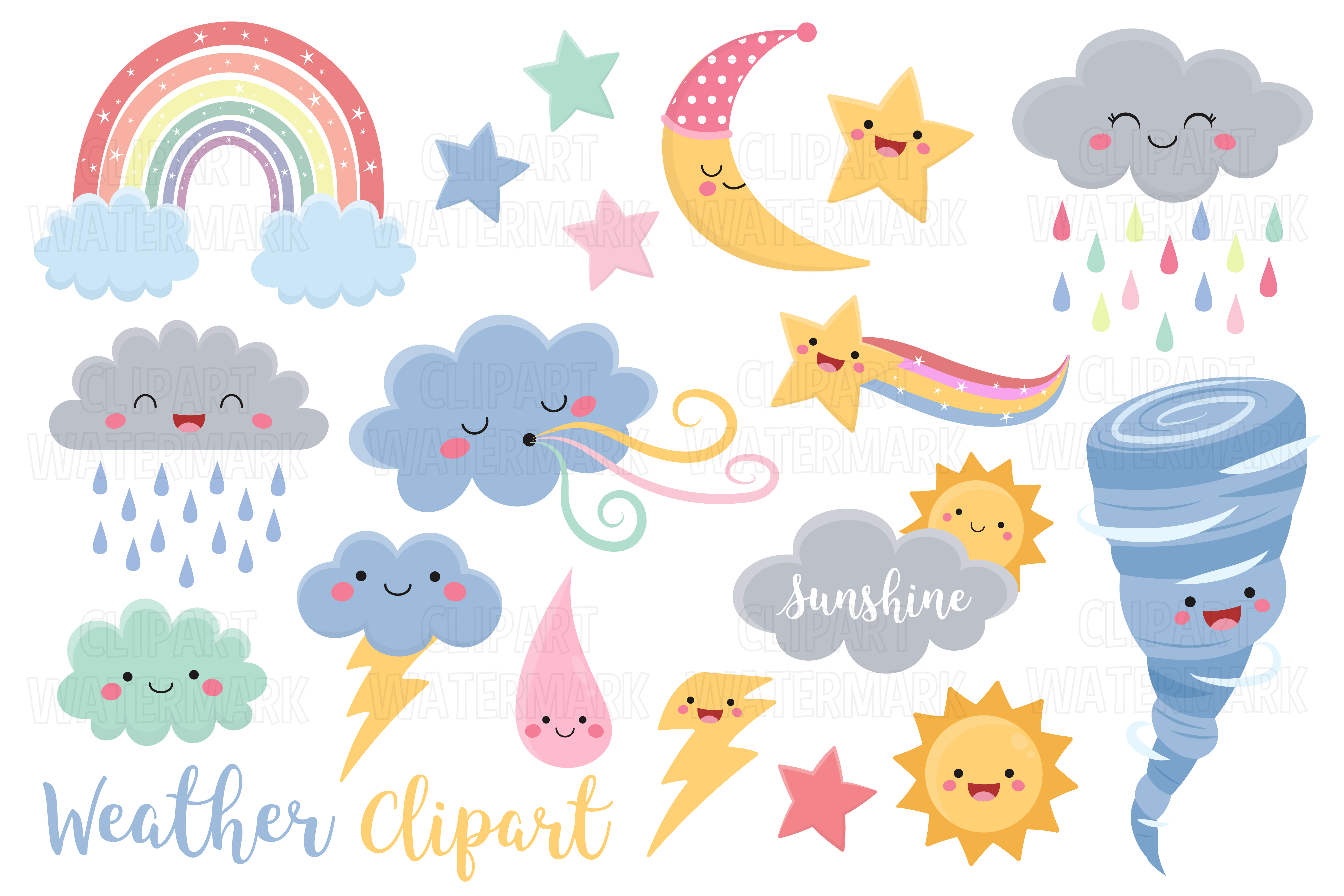 Download Free Kawaii Weather Clipart Graphic By Magreenhouse Creative Fabrica for Cricut Explore, Silhouette and other cutting machines.