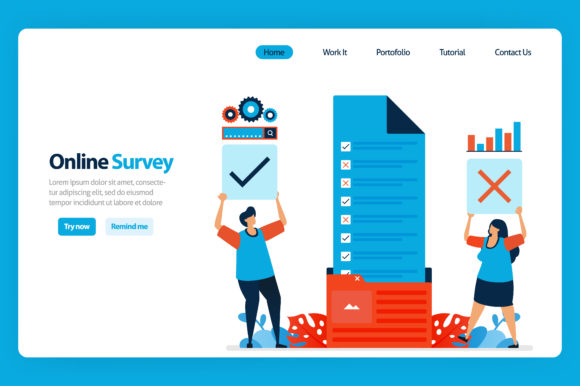 Download Free Landing Page Design Of Online Survey Graphic By Setiawanarief111 SVG Cut Files