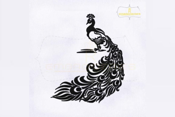 Magnificent Black and White Peacock Birds Embroidery Design By RoyalEmbroideries