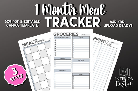 Print on Demand: Meal Planner Food Tracker KDP Graphic KDP Interiors By InteriorTastic