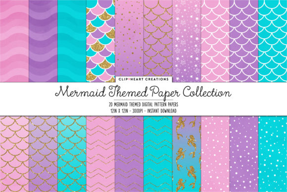 Download Free Mermaid Digital Papers Graphic By Clipheartcreations Creative for Cricut Explore, Silhouette and other cutting machines.