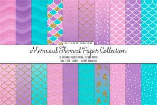 Mermaid Digital Papers Graphic Backgrounds By clipheartcreations