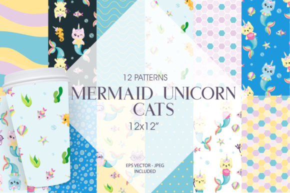 Print on Demand: Mermaid Unicorn Cats Graphic Patterns By Prettygrafik