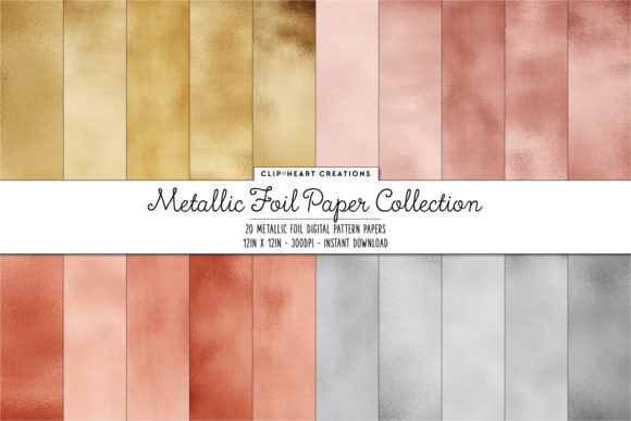 Metallic Foil Digital Papers Graphic Backgrounds By clipheartcreations
