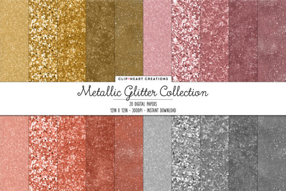 Metallic Glitter Digital Papers Graphic Backgrounds By clipheartcreations
