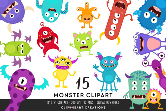 Monster Clipart Graphic Illustrations By clipheartcreations