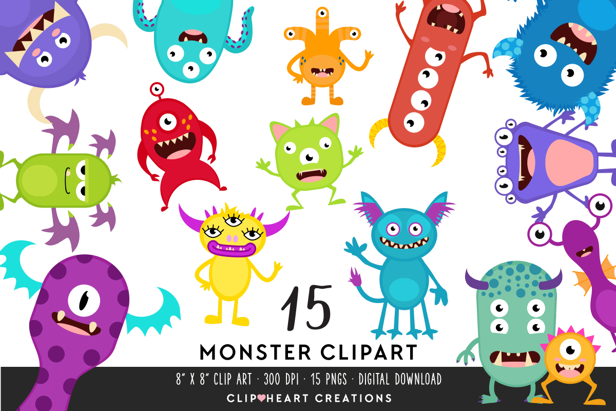 Download Free Monster Clipart Graphic By Clipheartcreations Creative Fabrica for Cricut Explore, Silhouette and other cutting machines.