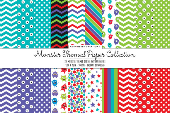Monster Themed Digital Papers Graphic Backgrounds By clipheartcreations