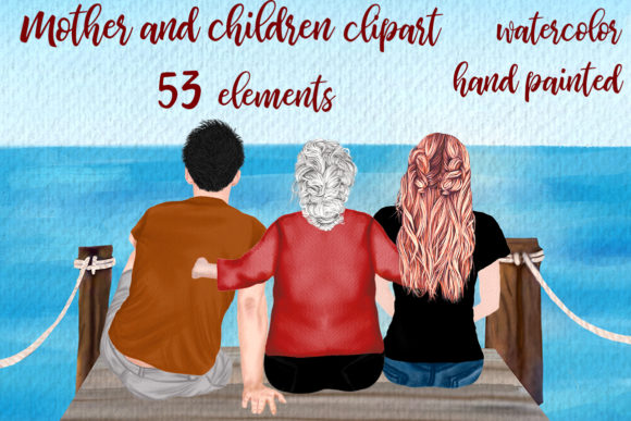 Mother, Granny and Children Clipart Gráfico Ilustraciones Por LeCoqDesign
