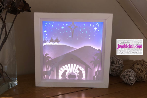 Nativity 3D Paper Cut Light Box Grafik 3D Schattenbox von Jumbleink Digital Downloads