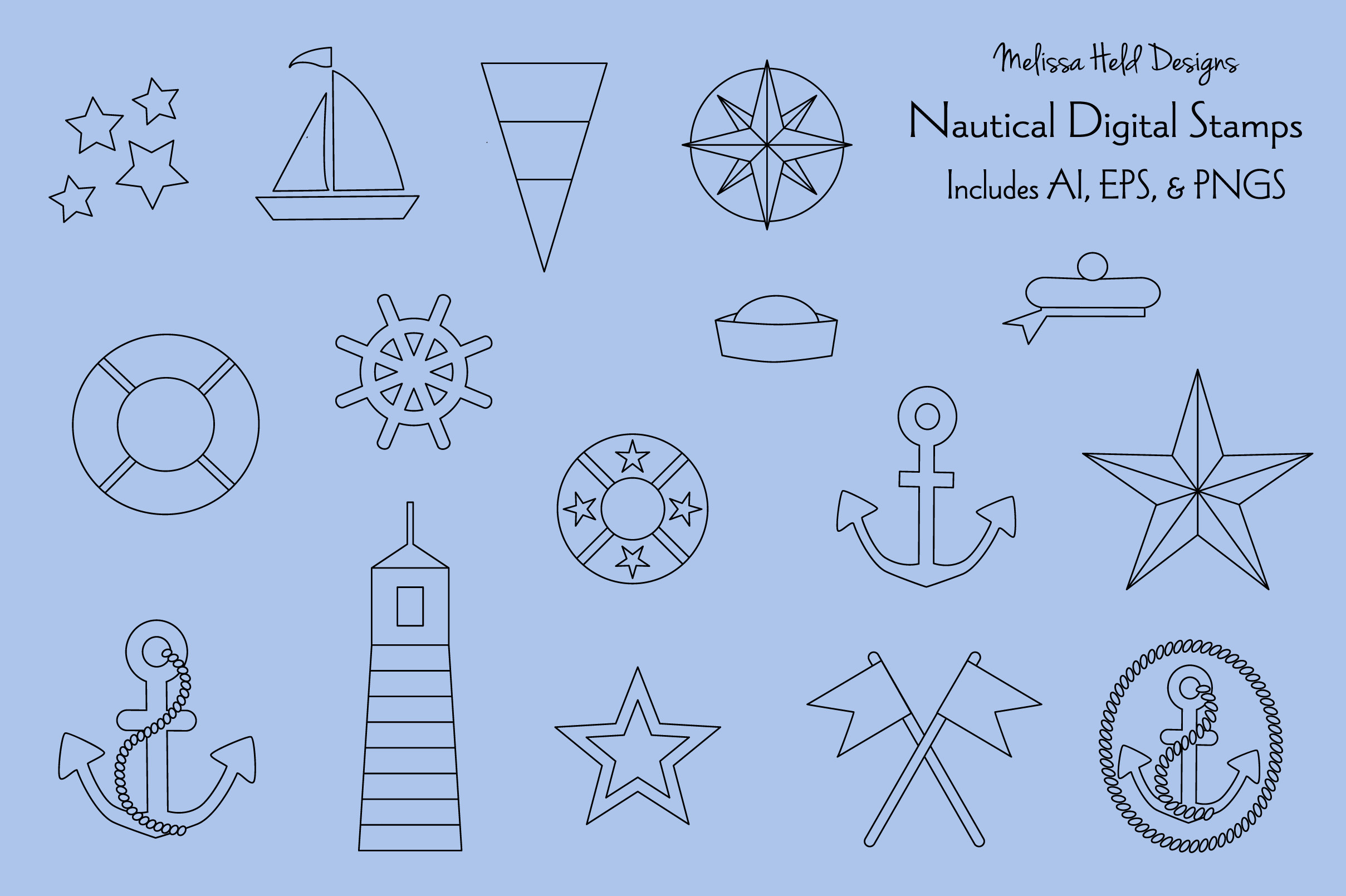 Download Free Nautical Digital Stamps Clipart Graphic By Melissa Held Designs for Cricut Explore, Silhouette and other cutting machines.