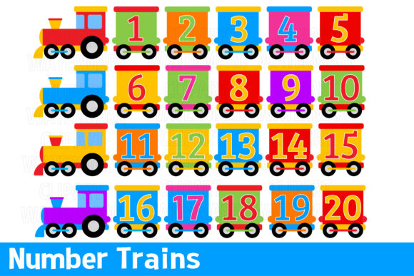 Download Free Number Trains Clipart Graphic By Magreenhouse Creative Fabrica for Cricut Explore, Silhouette and other cutting machines.