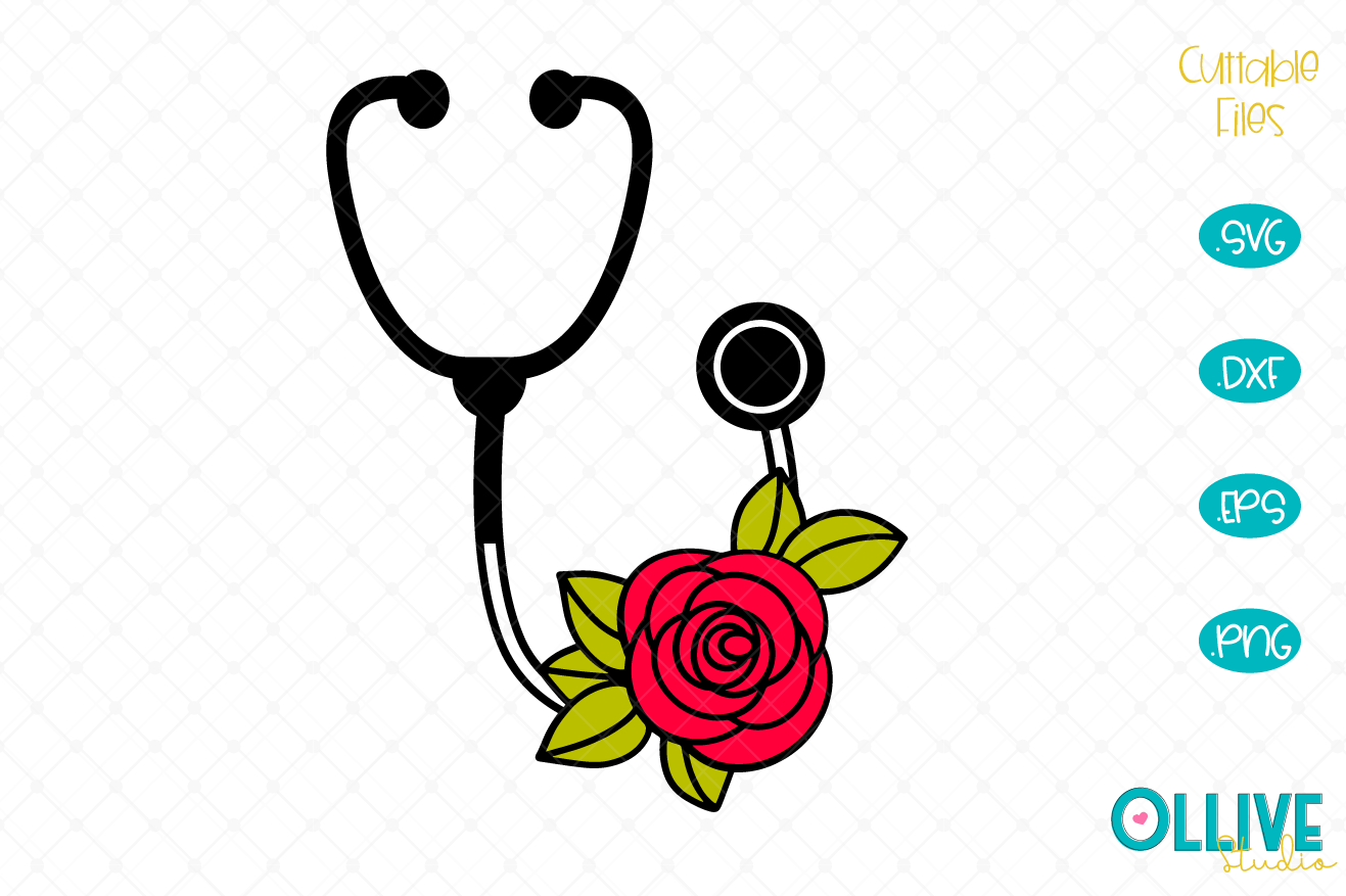 Download Free Nurse Stethoscope Floral Graphic By Ollivestudio Creative Fabrica for Cricut Explore, Silhouette and other cutting machines.
