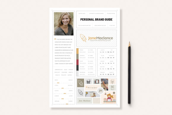 Print on Demand: One Page Personal Brand Style Guide Graphic Print Templates By sargatal