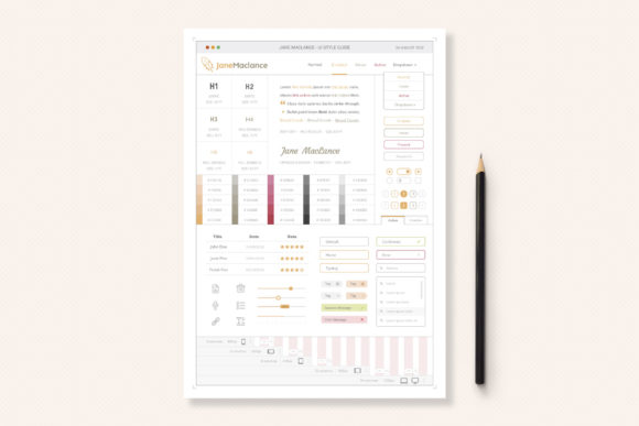 Print on Demand: One Page UI Style Guide Graphic UX and UI Kits By sargatal