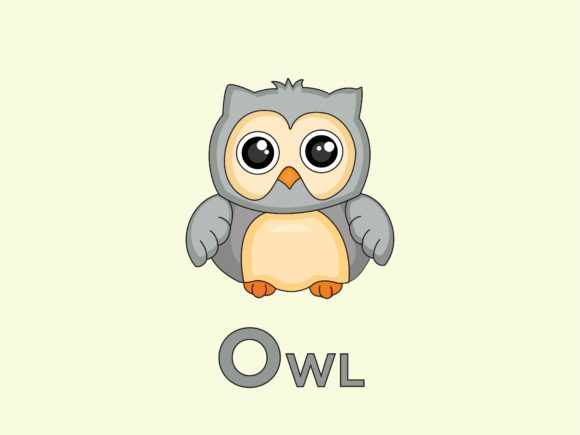 Print on Demand: Owl Animal for Alphabet O Graphic Illustrations By doridodesign