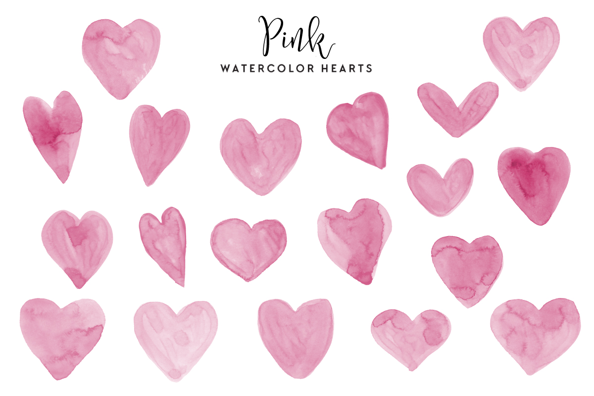 Download Free Pink Watercolor Hearts Graphic By Clipheartcreations Creative for Cricut Explore, Silhouette and other cutting machines.