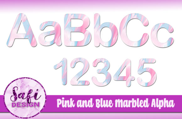 Print on Demand: Pink and Blue Marbled Alphabet Clip Art Graphic Crafts By Safi Designs