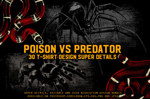 Print on Demand: Poison Vs. Predator 30 T-Shirt Design Gráfico Ilustraciones Por fluffyartstudio