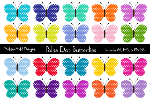 Download Free Polka Dot Butterflies Graphic By Melissa Held Designs Creative for Cricut Explore, Silhouette and other cutting machines.