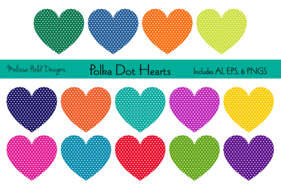 Polka Dot Hearts Graphic Illustrations By Melissa Held Designs
