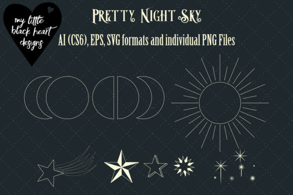 Download Free Pretty Night Sky Mini Set Graphic By My Little Black Heart for Cricut Explore, Silhouette and other cutting machines.