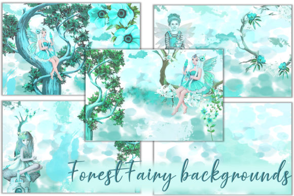 Print on Demand: Printable Fairy Backgrounds & Clipart Graphic Backgrounds By The Paper Princess