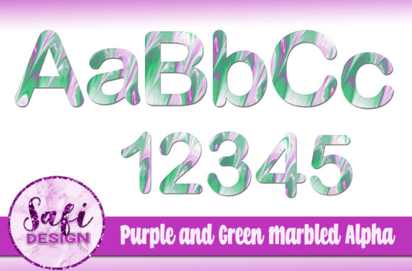 Download Free Purple Green Marbled Alphabet Clip Art Graphic By Safi Designs for Cricut Explore, Silhouette and other cutting machines.