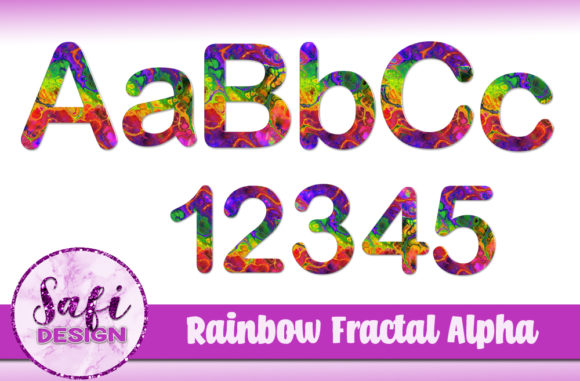 Download Free Rainbow Fractal Alphabet Clip Art Graphic By Safi Designs for Cricut Explore, Silhouette and other cutting machines.