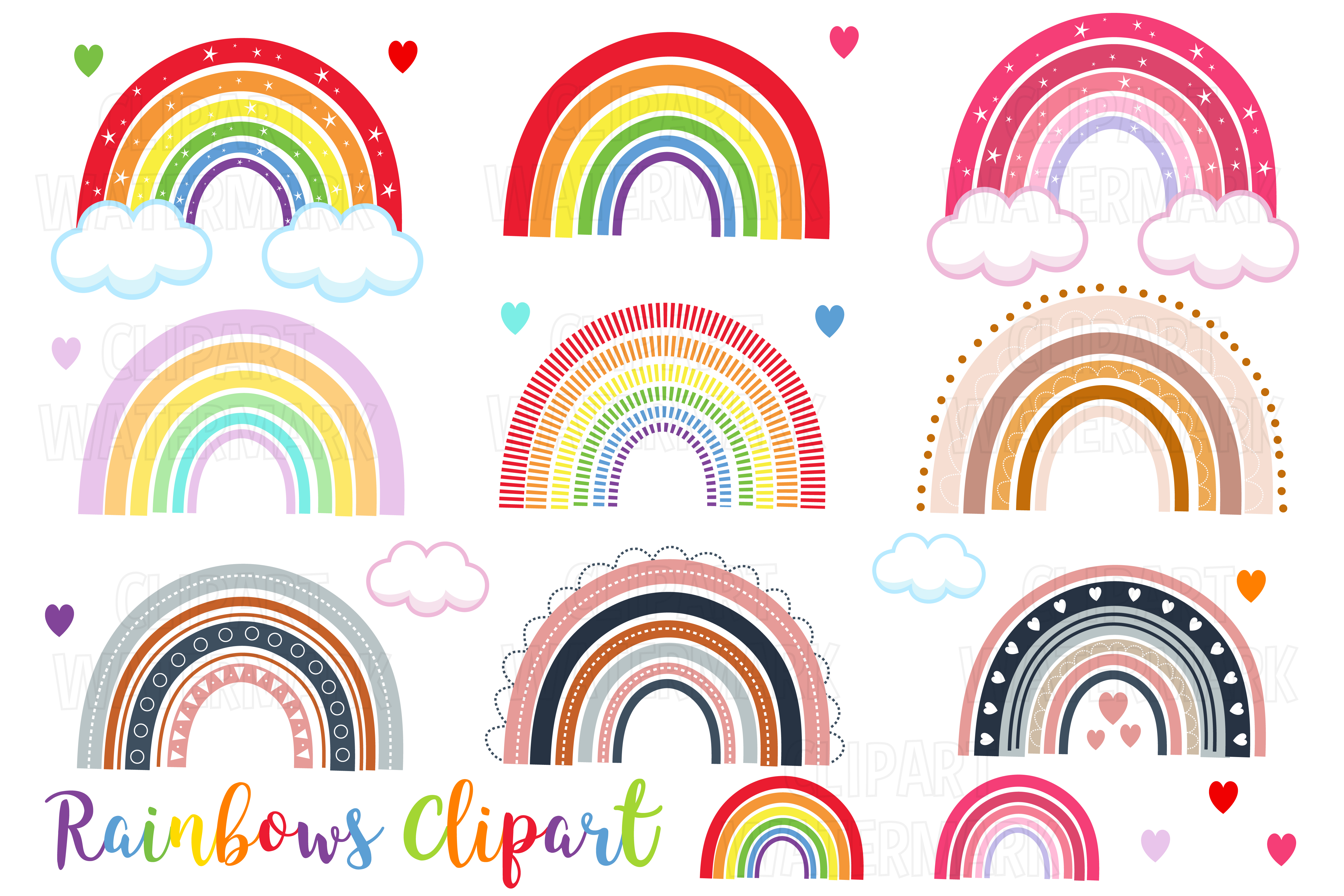 Download Free Rainbows Clipart Graphic By Magreenhouse Creative Fabrica for Cricut Explore, Silhouette and other cutting machines.