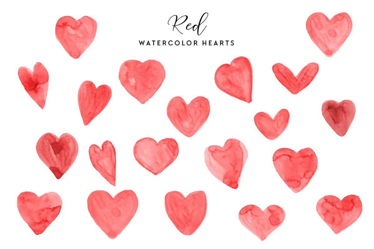 Download Free Red Watercolor Hearts Graphic By Clipheartcreations Creative for Cricut Explore, Silhouette and other cutting machines.