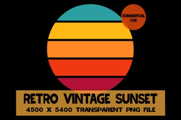 Download Free Retro Vintage Sunset Graphic By Sunandmoon Creative Fabrica for Cricut Explore, Silhouette and other cutting machines.