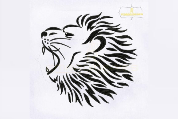 Roaring Lion Head Wild Animals Embroidery Design By royalembroideries