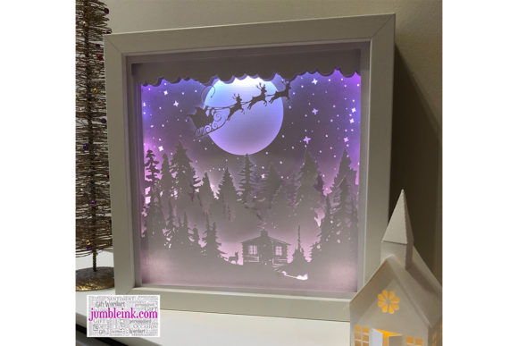 Santa's Cabin Paper Cut Light Box Grafik 3D Schattenbox von Jumbleink Digital Downloads