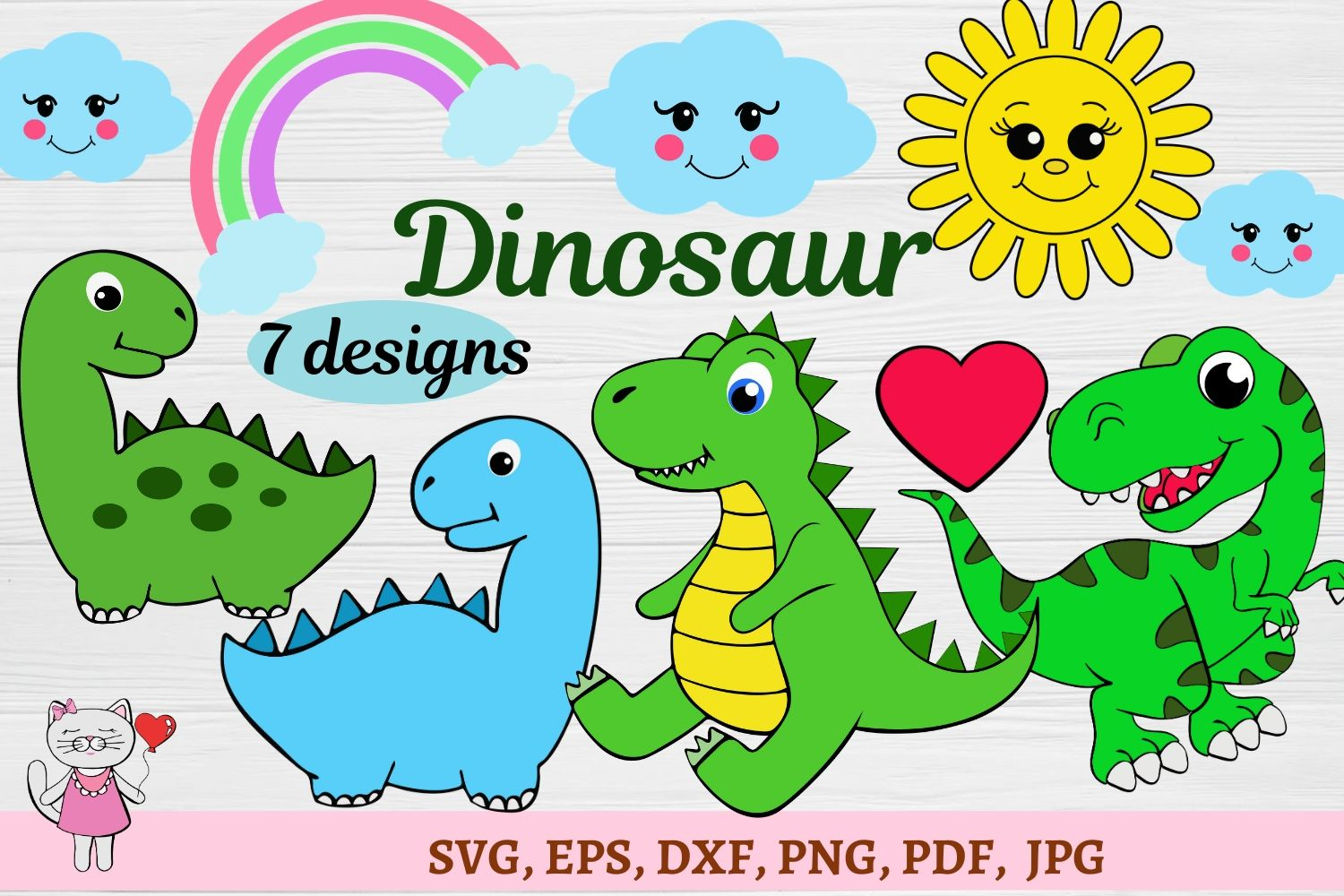 Set Dinosaurs Cut Files For Crafters Graphic By Magic World Of