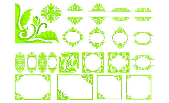 Download Free Set Of Green Ornament Border Design Graphic By Arief Sapta Adjie for Cricut Explore, Silhouette and other cutting machines.