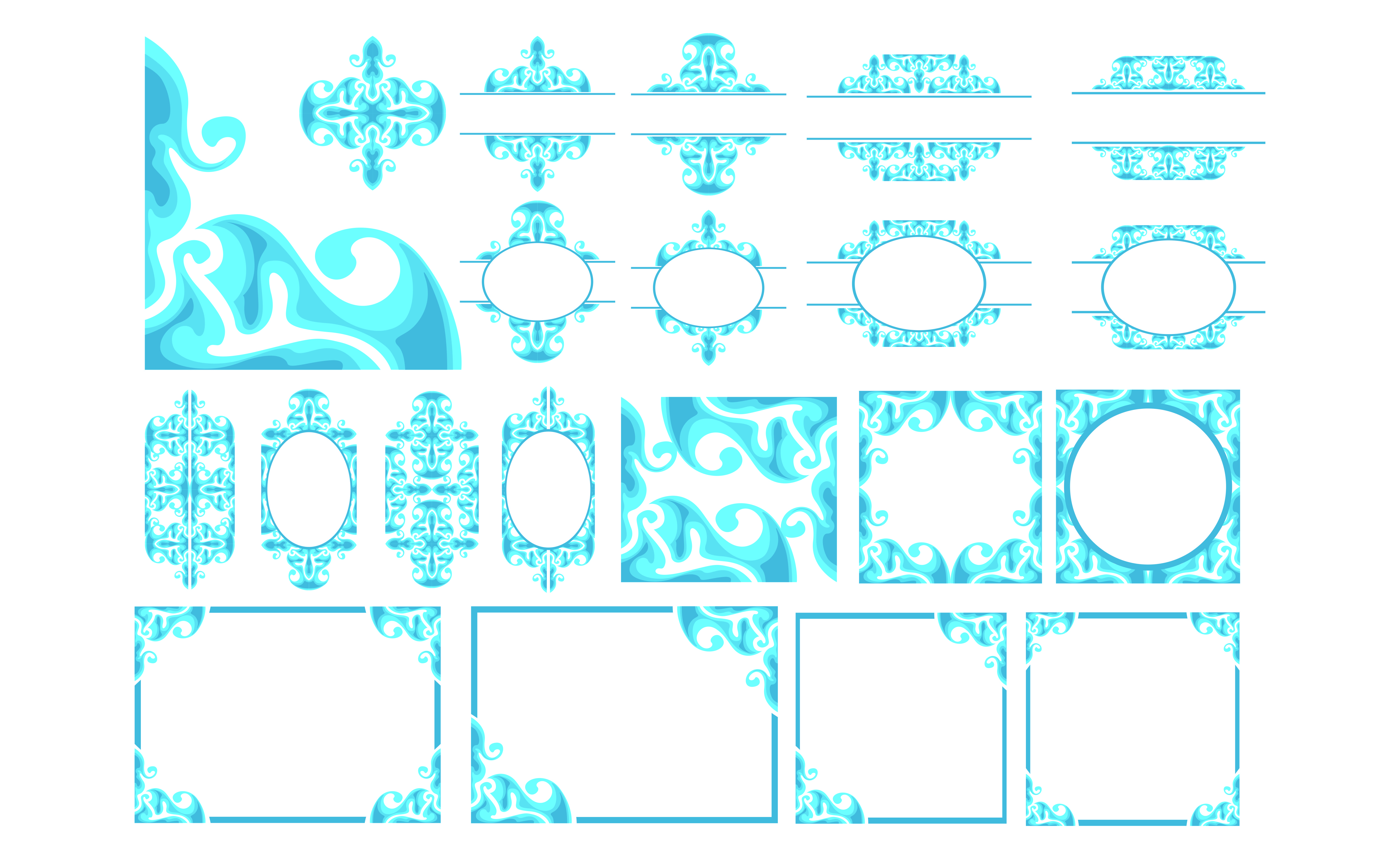Set Of Blue Ornament Border Design Graphic By Arief Sapta Adjie