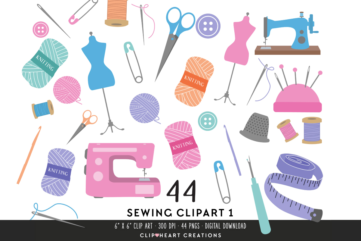 Download Free Sewing Clipart Set Pastels Graphic By Clipheartcreations for Cricut Explore, Silhouette and other cutting machines.