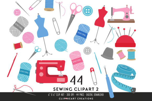 Download Free Sewing Clipart Set Red Graphic By Clipheartcreations for Cricut Explore, Silhouette and other cutting machines.