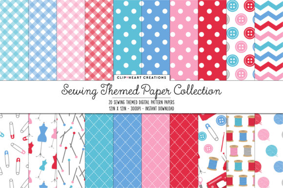 Download Free Sewing Themed Digital Papers Graphic By Clipheartcreations for Cricut Explore, Silhouette and other cutting machines.