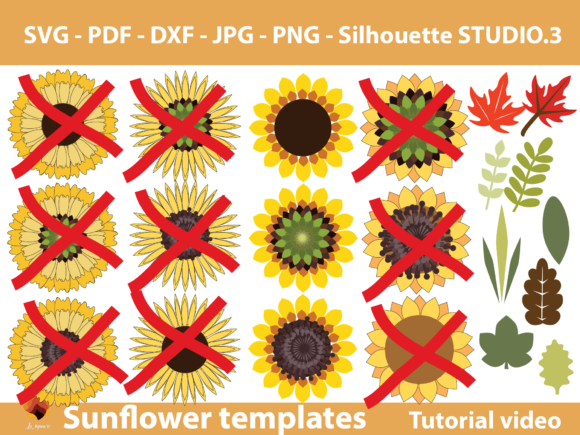 Download Free 1 Sunflower Paper Template Designs Graphics for Cricut Explore, Silhouette and other cutting machines.